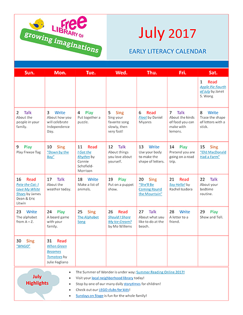 Early Literacy Calendar July 2017