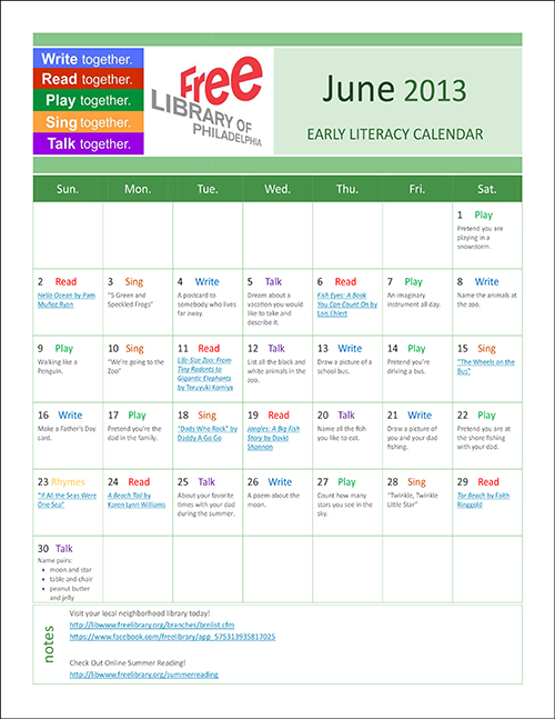Early Literacy Calendar June 2013