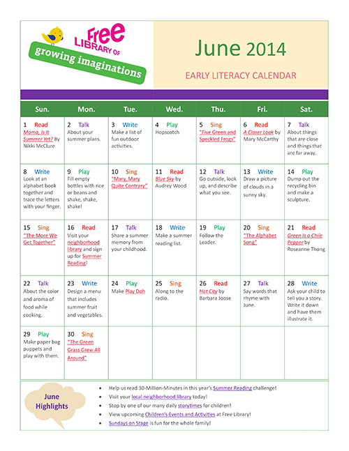 Early Literacy Calendar June 2014