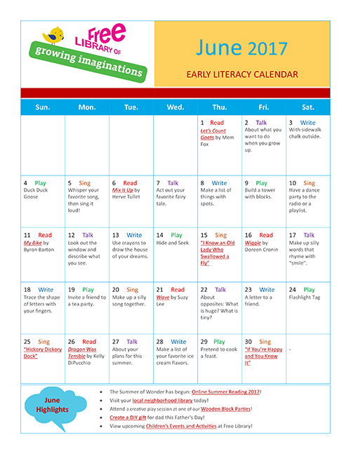 Early Literacy Calendar June 2017