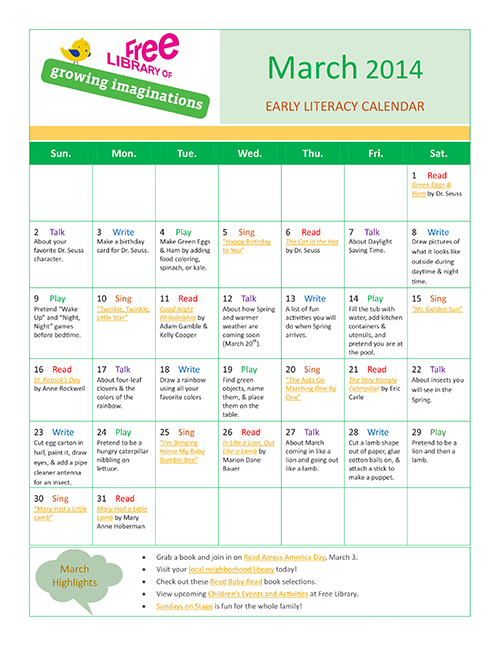 Early Literacy Calendar March 2014
