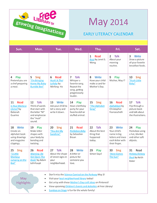 Early Literacy Calendar May 2014