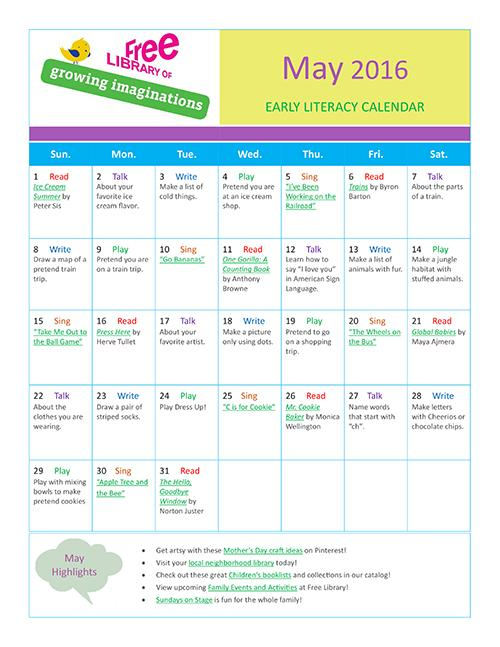 Early Literacy Calendar May 2016