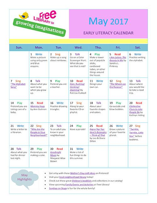 Early Literacy Calendar May 2017