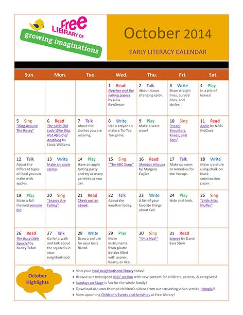 Early Literacy Calendar October 2014