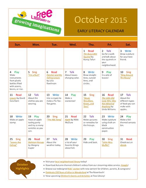 Early Literacy Calendar October 2015