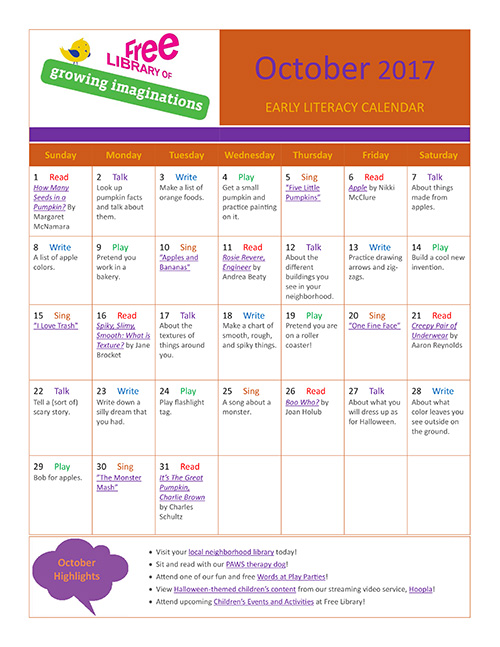 Early Literacy Calendar October 2017