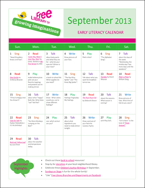 Early Literacy Calendar September 2013