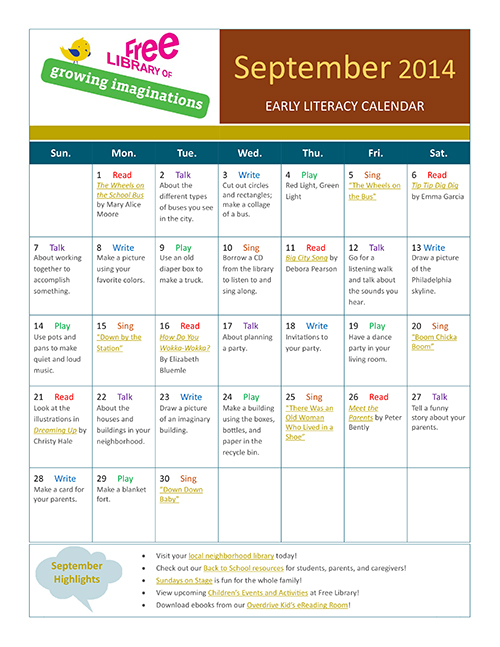 Early Literacy Calendar September 2014