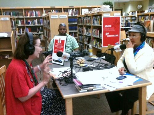 Fatimah Ali broadcasts from the Independence neighborhood library.