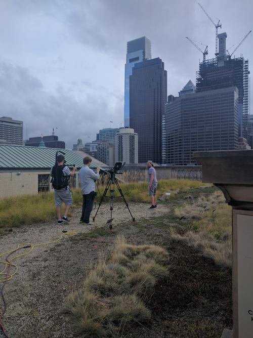 Filming on Parkway Central Library's roof