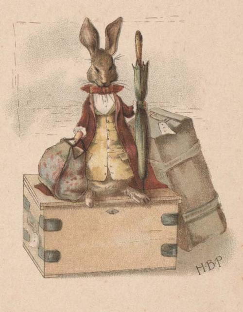 Illustration from Beatrix Potter's first published work, written by Frederick Weatherly. <i>A Happy Pair.</i>  Illustrated by H. B. P. London: Hildesheimer & Faulkner, New York: George C. Whitney, [1890].