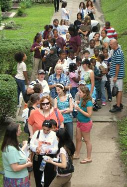 A crowd gathers early outside the Children's Department.