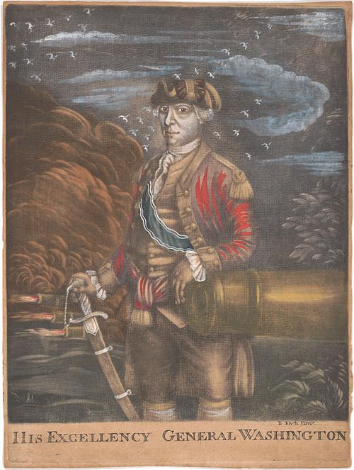 Benjamin Blyth, pinxt., with coloring by Samuel Blyth, His Excellency General Washington, ca. 1775, hand-colored mezzotint.