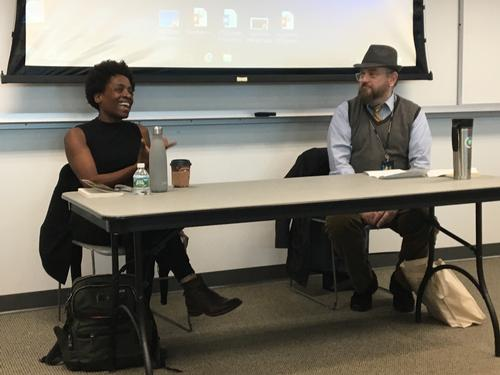 Jacqueline Woodson discusses her writing with Community College of Philadelphia professor Kelly McQuain.