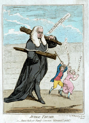 "Colored caricature etching by James Gillray. ""Judge Thumb, or, Patent Sticks for Family Correction: Warranted Lawful!"" Pub. Nov. 27, 1782. by W. Humphrey, No. 227 Strand, London."