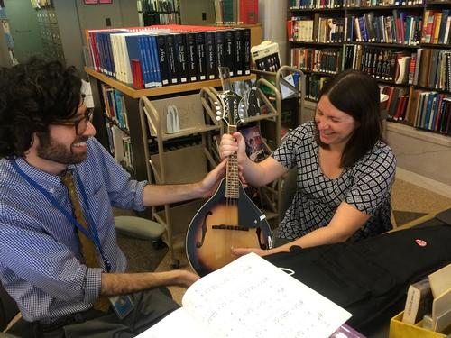 Officially receiving my mandolin checkout from music librarian Perry Genovesi