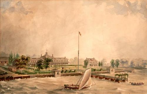 The Lazaretto in an 1840 painting by T.L. Carnea (image from Atwater Kent Museum of Philadelphia)