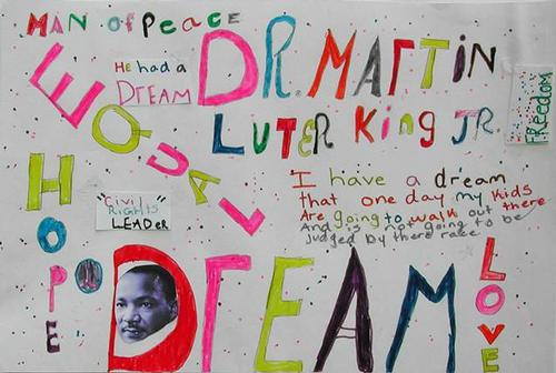 "Elementary winner – ""Man of Peace"" by Deijah H., 4th grade, Chestnut Hill Branch Library LEAP program"