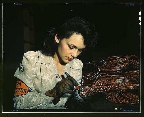 This photograph, taken by David Bransby in 1942, shows a woman aircraft worker checking electrical assemblies at the Vega Aircraft Corporation in Burbank, California. It has been viewed more than 35,000 times since it was uploaded to Flickr on January 8.
