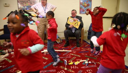 Mayor Kenney during a storytime event at one of our local neighborhood libraries.