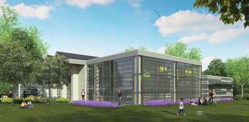 A rendering of the exterior of Lovett Memorial Library