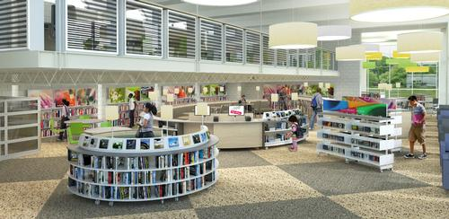 Lovett Memorial Library interior rendering