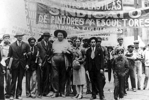 Marching on May Day in Mexico