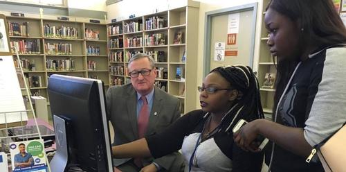Mayor Kenney being shown Job Readiness Lab resources by Paschalville Library staff (photo credit: Jenny Walker)