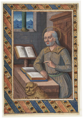St. Mark, from a book of hours by a follower of Jean Bourdichon, France, c. 1500