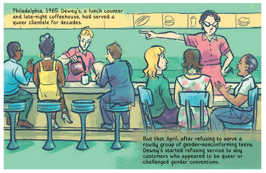 Illustration of a diner scene with a server pointing three guests to a door. The scene describes a scene in 1965 Philadelphia where a group of gender-nonconforming teens were refused service.
