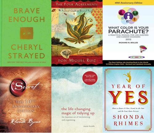 A sampling of self-help books read by the author.