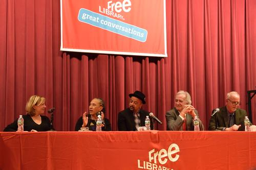 Previous years One Book authors in discussion at Parkway Central Library (from left to right): Christina Baker Kline, Lorene Cary, James McBride, Carlos Eire, and Steve Lopez