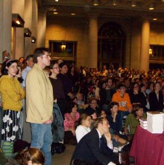 A rapt overflow audience filled the Central Library's Main Lobby.