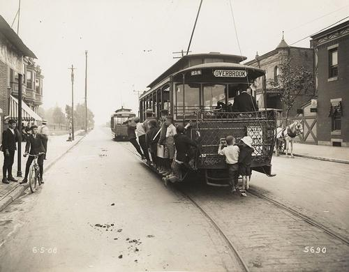 Overbrook Trolley (from the Free Library's Print and Picture Collection)