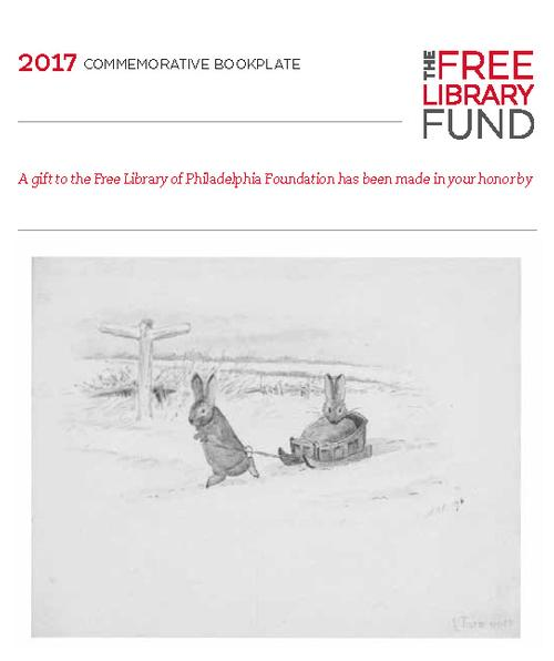 One of the holiday bookplates features a charming watercolor of Bunnies in the Snow by the beloved children's illustrator Beatrix Potter.