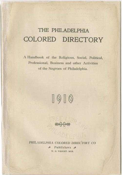 Philadelphia Colored Directory, published in 1910