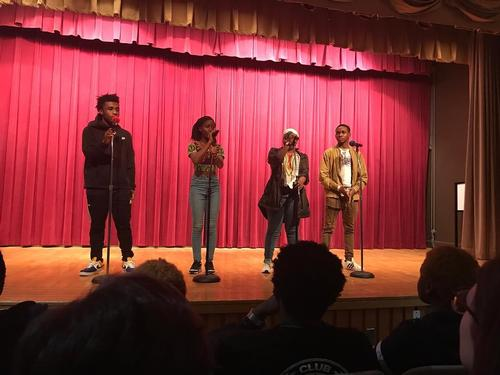 Teens participate in a recent Philly Slam Legaue event in Montgomery Auditorium at Parkway Central Library