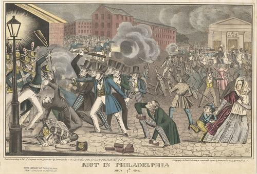 1844 riot in Philadelphia (Free Library, Print and Picture Collection)