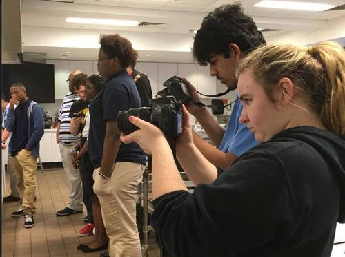 Science Leadership Academy students shooting events at the library for Teen Central.