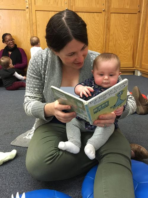 Enjoying Baby and Toddler Storytime in the Parkway Central Children's Department
