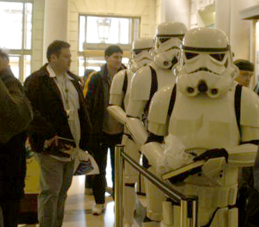 Storm Troopers Wait to Have Their Books Signed