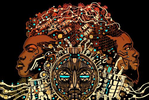 <i>Afrofuturism 2.0: The Rise of Astro Blackness</i> book cover design by John Jennings
