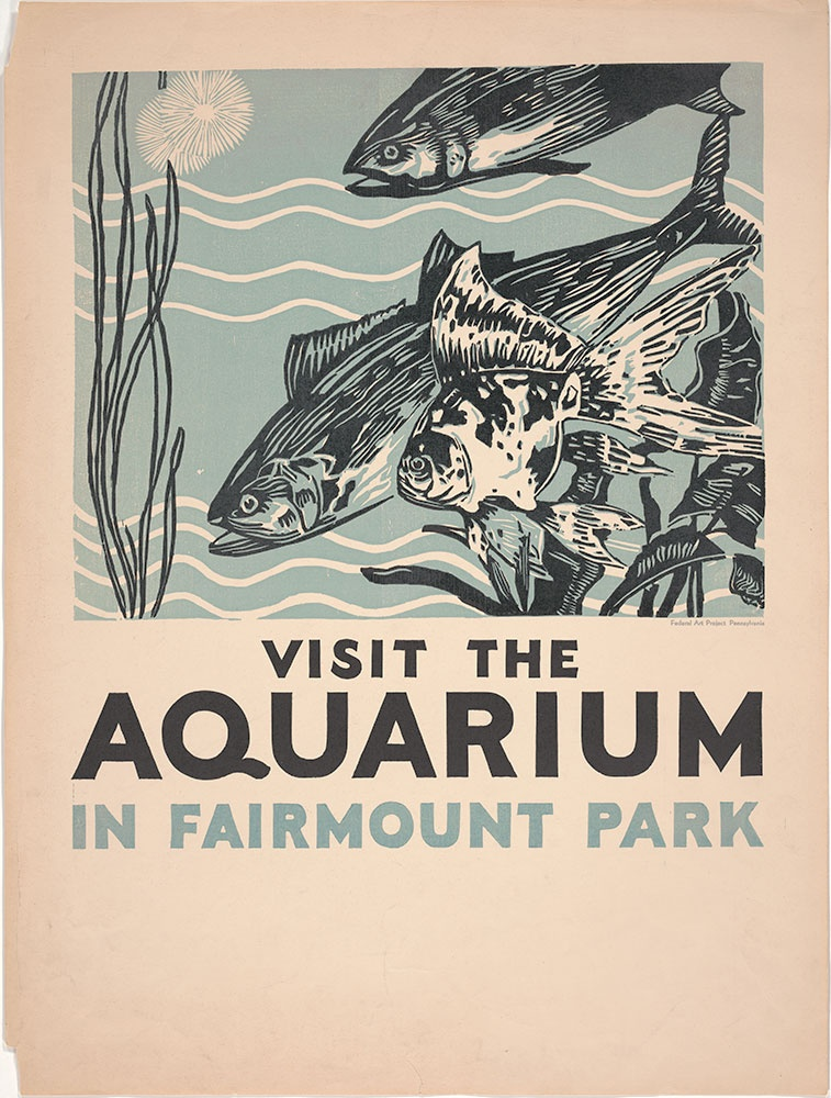 a graphic print with a light blue background layer, another layer printed in black with detailed illustrations of fish and text that says Visit the Aquarium in Fairmount Park