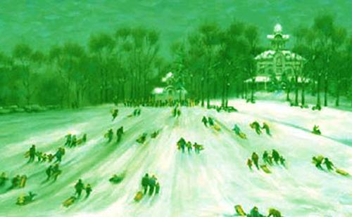 Painting of winter sledding at Burholme Park in Northeast Philadelphia