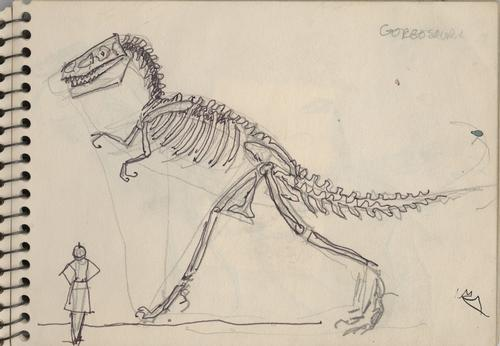 Drawing from Virginia Lee Burton's sketchbook of a dinosaur skeleton at the American Museum of Natural History in New York City