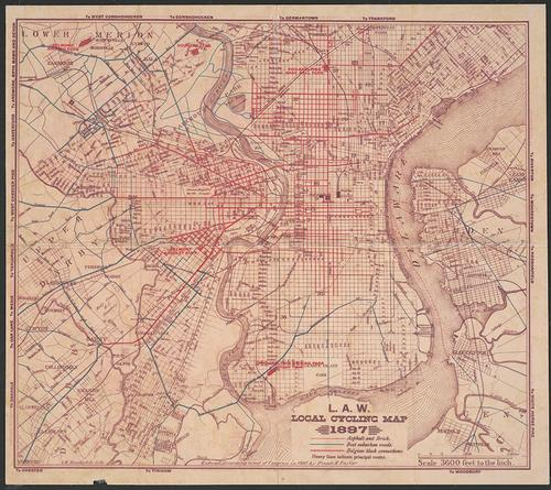 L.A.W. Local Cycling Map, 1897, Map [recto]