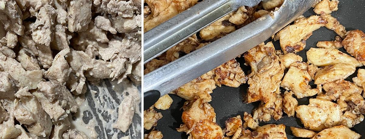 chicken being prepared