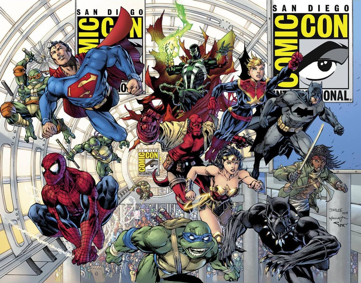 Comic-Con 50 souvenir book cover, illustrated by Jim Lee