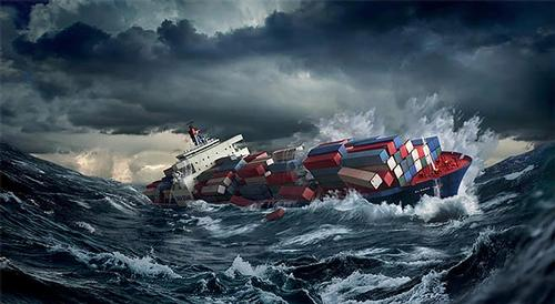 An artist's rendering of the S.S. El Faro in turmoil.